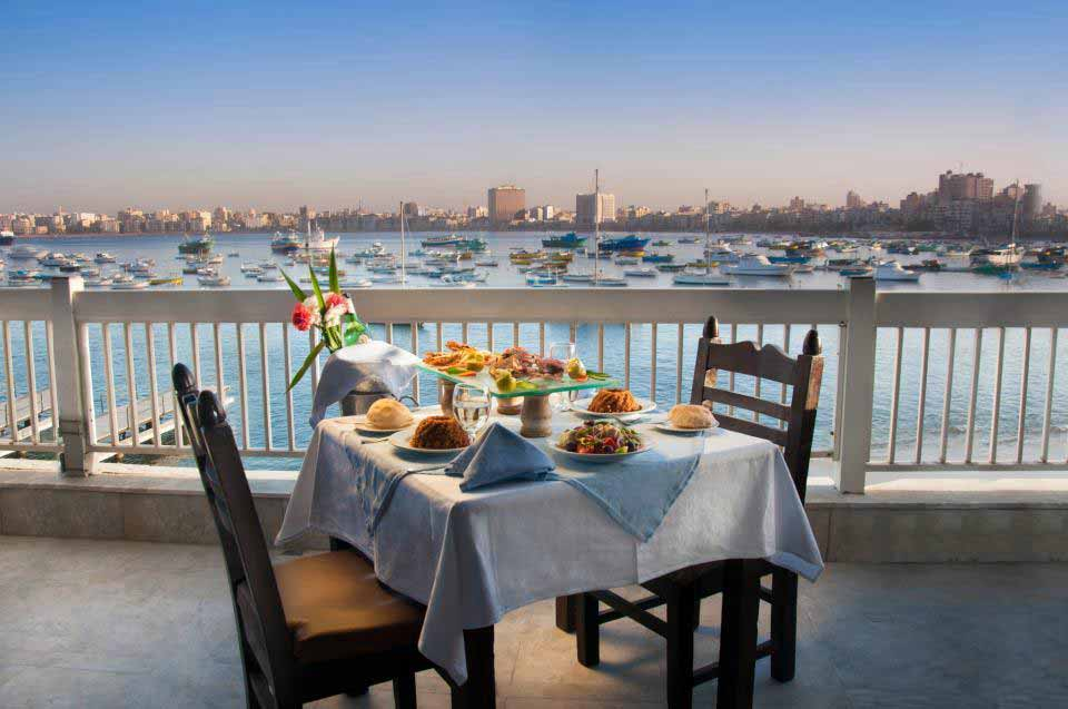 White and blue restaurant Alexandria