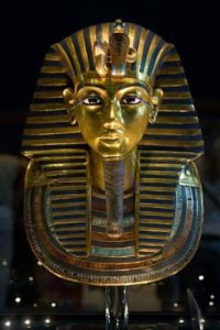 King Tut golden statue at the Egyptian museum